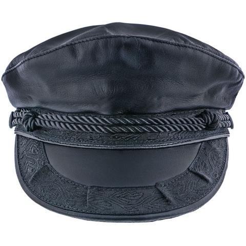 Bonnet boulanger en cuir noir